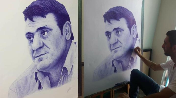 Artisti nga fshati Reshtan sjell një pikturë të përkryer të legjendës Fadil Vokrri