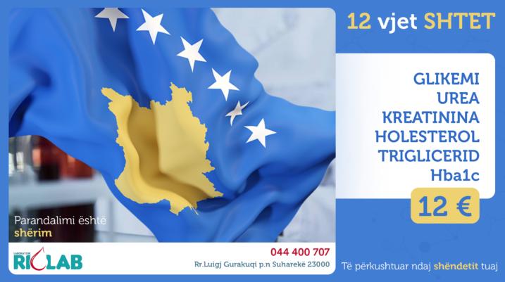 12 vjet SHTET, për 12 DITË  ANALIZA për vetëm 12 EURO! Parandalimi është shërim!