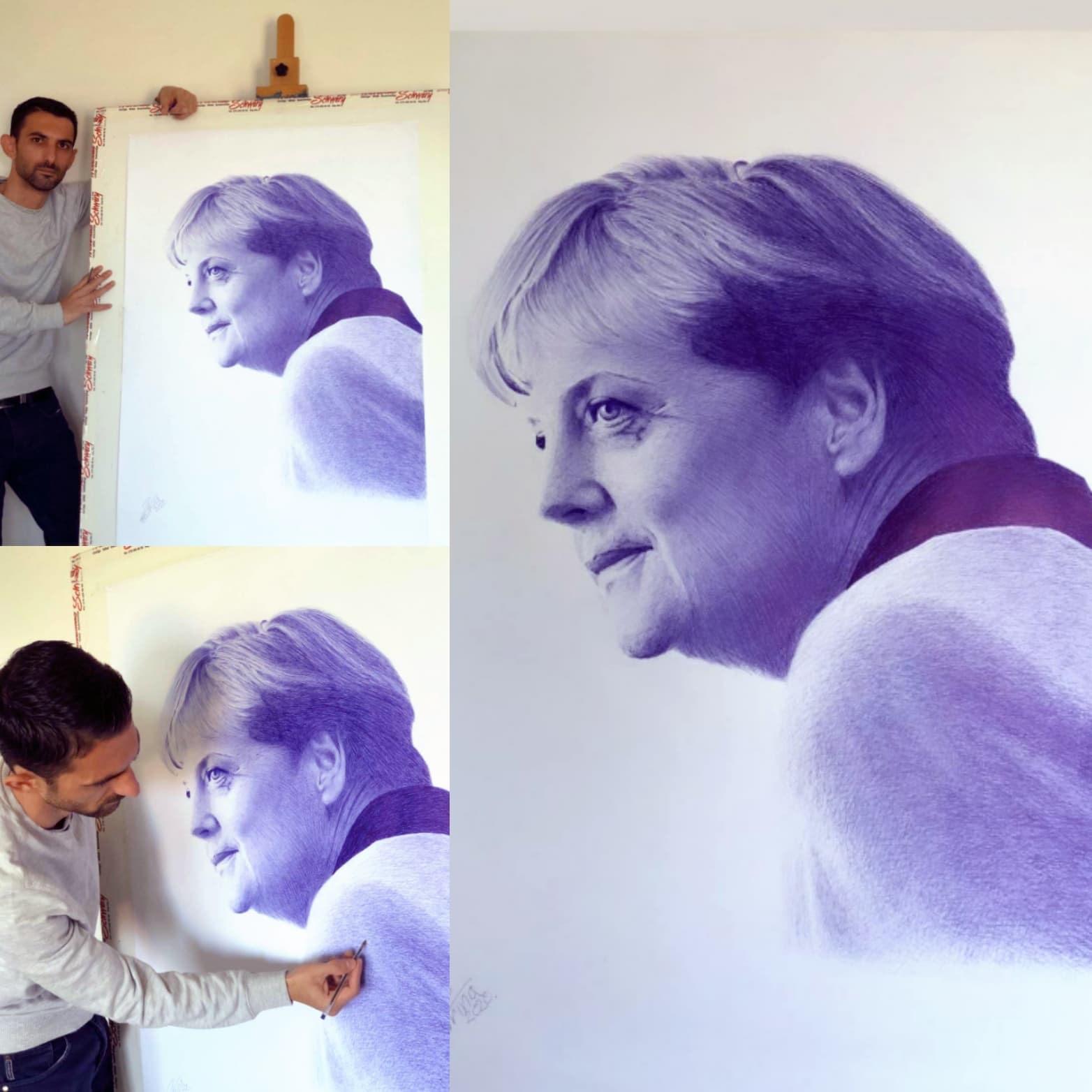 Piktori nga Suhareka uron ditëlindjen e 66-të të Angela Merkel-it me një punim dedikuar asaj